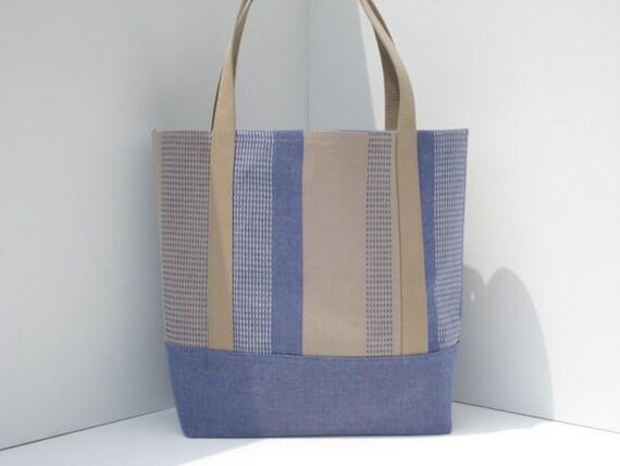 Chambray & Khaki Striped Cotton Tote Bag