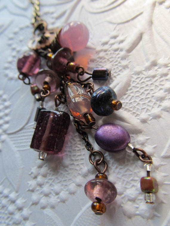 Beaded Necklace Purple Pink Briolette Czech Bead OOAK Glass Bead Necklace Copper Jewelry