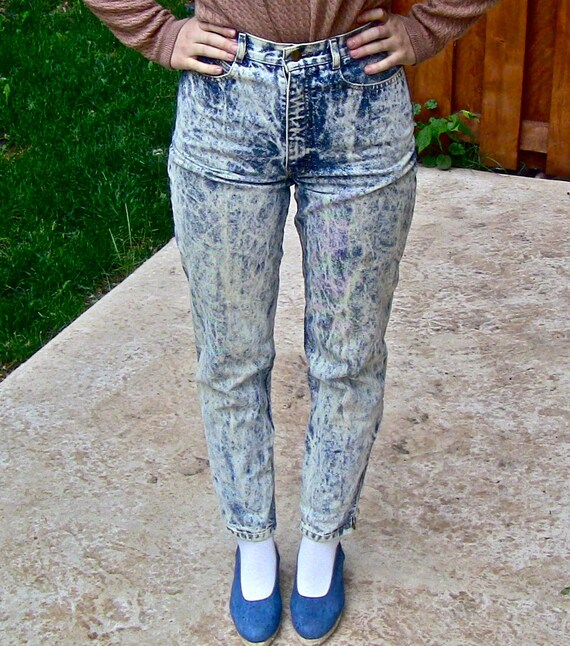 1990s Vintage Acid Wash High Waisted Palmetto Jeans