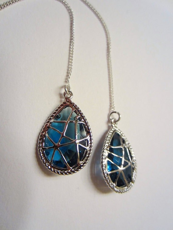 Blue Sapphire Glass and Sterling Silver Thread Chain Earrings