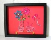 Paper Quilled Morning Coffee - OOAK - Original Quilled Framed Art - Quilling247