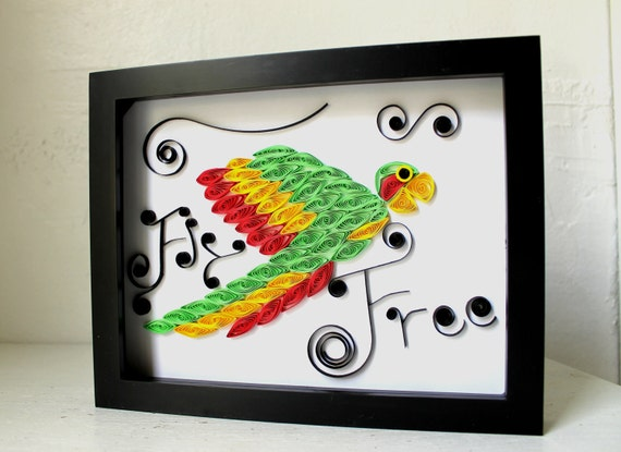 Paper Quilled Art -  Tropical parrot  - OOAK - original quilled framed artwork - Beautifully Feathered parrot - Quilling247