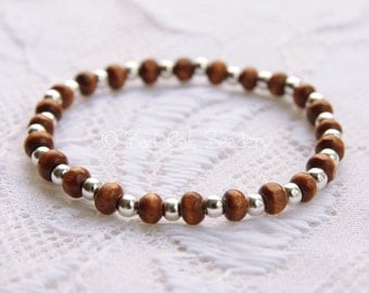 Brown Wood and Silver Stack Stretch Bead Bracelet