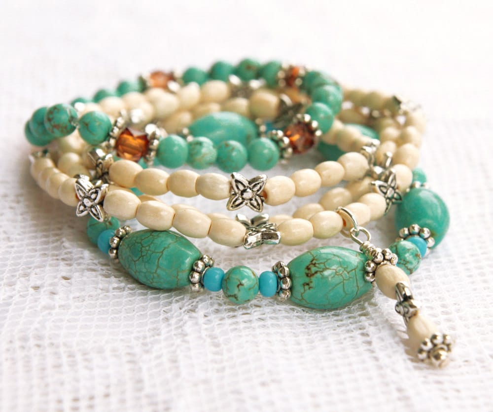 turquoise stretch bead bracelets with white and silver