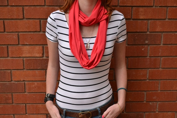 Coral Infinity Scarf - Eco-Friendly Bamboo Weave