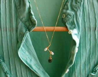 Branch necklace, labradorite necklace, gold necklace, gold filled necklace, bridal necklace, gold branch, pearl necklace