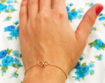 Gold Bracelet, 14k Delicate bracelet, gold bow bracelet, simple bracelet, thin bracelet, tiny bracelet, everyday bracelet, silver bracelet