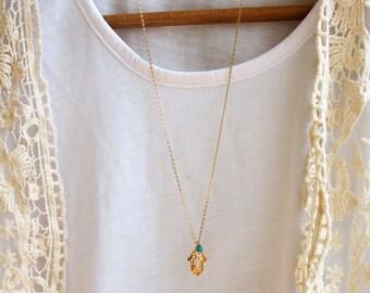 Hamsa necklace, filigree gold pendant, LONG necklace, turquoise necklace, turquoise pendant, gold filled necklace