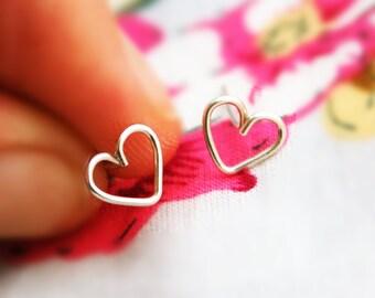 Heart stud earrings, silver post earring, small heart earrings, silver earrings, sterling silver earrings, heart earrings, Wedding Party