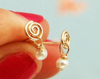 Tiny pearl stud earrings, spiral stud earrings, spiral post earring, pearl stud earring, gold stud earrings, silver earrings, weddings