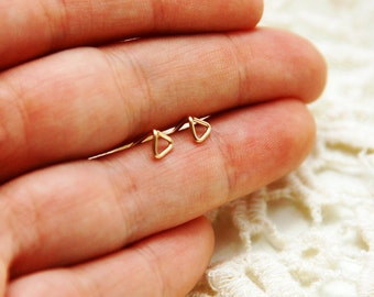 Triangle earrings, Geometric Earrings, geometric studs, gold stud earrings, gold post earrings, tiny gold studs