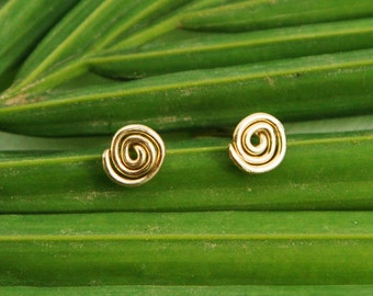 Stud earrings, spiral gold post earrings, gold infinity post earring, circle small stud earring, spiral silver earrings, post earrings