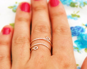 Silver ring, silver spiral ring, ANY SIZE everyday ring, wire wrapped, adjustable ring, delicate ring, thin sillver ring, gift for her