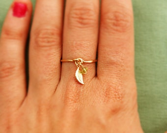 Gold ring - ANY SIZE -14k gold filled, gold leaf, peridot ring gold, thin ring, stacking ring, hammered gold ring
