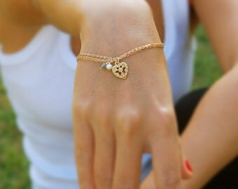 Gold bracelet, 14k gold filled, heart bracelet, gold chain bracelet, thin bracelet, bridal bracelet, everyday bracelet, wedding