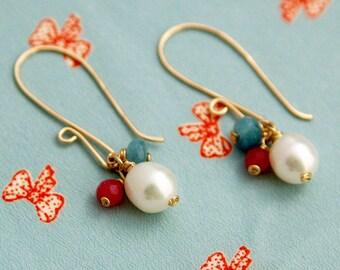 Pearl gold earrings, pearl earrings, ruby earrings, amazonite dangle earrings, fine jewelry, silver earrings, bridesmaid earrings, wedding