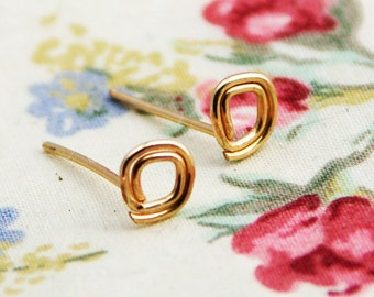 Gold stud earring, square gold post earrings, square earrings, tiny everyday studs, weddings, small post earrings