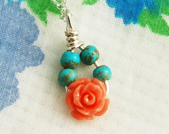 Charm necklace, delicate rose necklace,  Rose coral and turquoise necklace, sterling silver necklace, charm pendant