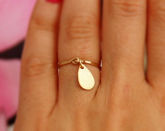 Gold ring -  ANY SIZE, gold drop, hammered ring, 14k gold filled, stacking ring, simple rimg, thin ring, delicate ring, gold engagement ring