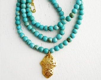 Filigree Hamsa necklace, turquoise necklace, gold necklace, hamsa hand, hamsa jewelry, gold hamsa pendant, chunky turquoise necklace