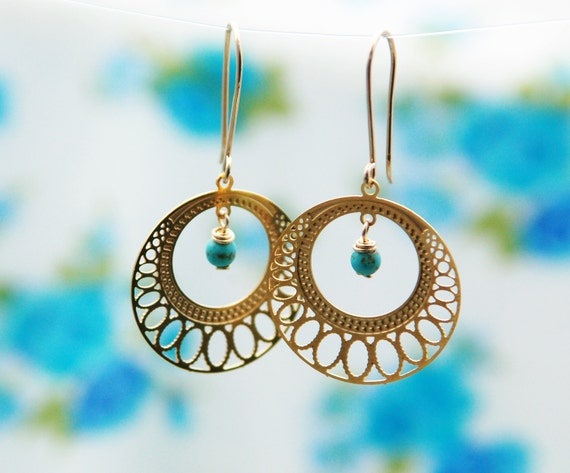 Gold hoops, large hoops, turquoise jewelry, Large filigree gold earrings - 14k earrings, turquoise earrings, gold lace cirfle earrings