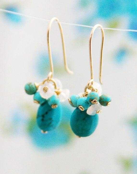 Turquoise earrings, moonstone earrings, bridesmaid earrings, turquoise stone, dangle earrings, turquoise earrings, 14 karat gold fill