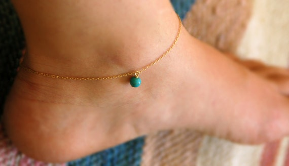 Ankle bracelet, anklet, turquoise anklet, turquoise bracelet, gold anklet, foot jewelry, silver ankle bracelet, gold ankle bracelet