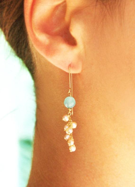 Gold earrings, 14k gold filled, long earrings, pearl earrings, aqua chalcedony earrings, wedding, bridal earings, bridesmaid earrings