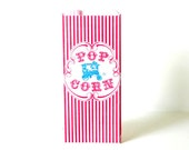 25 Retro Paper Popcorn Bags - Circus Birthday Carnival Birthday Party Blue Wagon and Red Stripe
