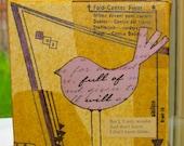 Mixed Media - Mini Canvas - Purple Bird - Collage - Art