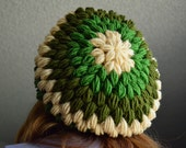 Earthy shades Crochet Slouchy Tam Hat - Grass Green, Hunter Green and Taupe