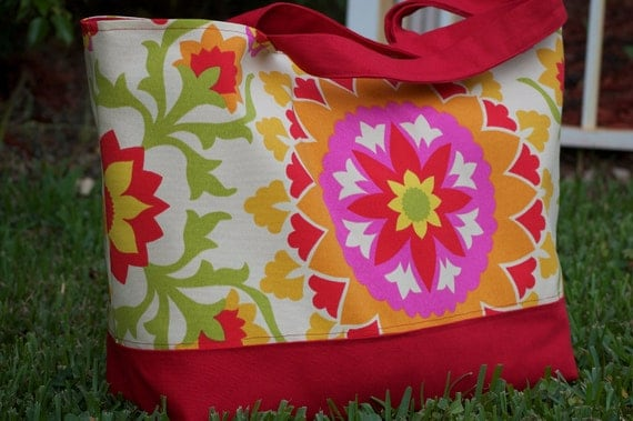 Large Tote Bag, Beach Tote, Red