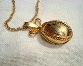 Vintage Hipster Necklace Golden Egg Shaped Pendant