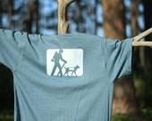 Medium Denim Blue Hiker and Dog Trail Marker Short Sleeve Tagless T-Shirt