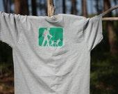 XL Hiker and Dog Trail Marker Short Sleeve Tagless T-Shirt Athletic Grey