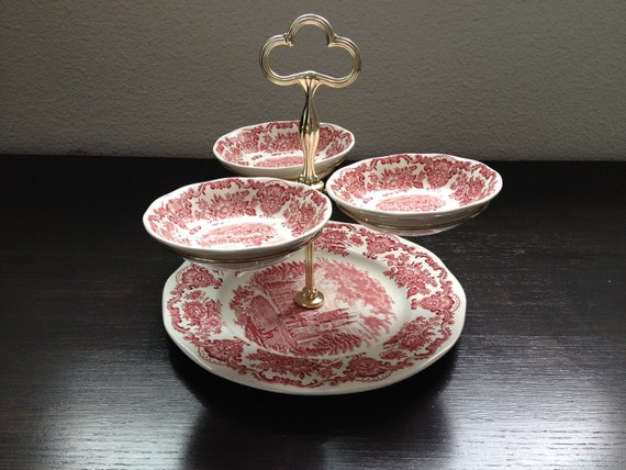 """Tiered Trays cake stand """"Royal Homes of Britain"""" Enoch Wedgwood shabby chic"""