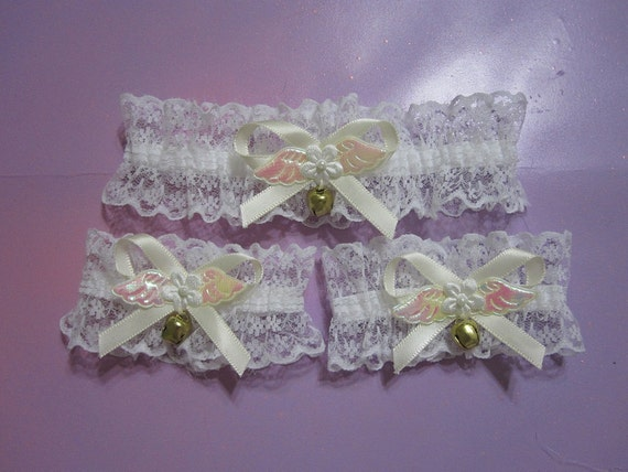 White lace choker and cuffs // cream ribbon // angel wings // bows // bells