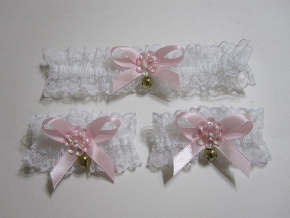 White lace choker and cuffs // pink ribbon // bows // bells // pink flowers