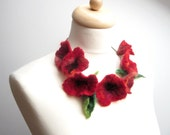 Red Poppy Statement Necklace Hand Felted Wool Silk Flowers Poppies Felt Meadow