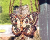 Reserved for Tammy Crystal Moth Bead Embroidered Butterfly Necklace