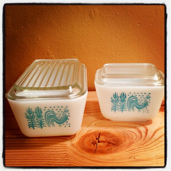 Pyrex Butterprint Refrigerator Dish Set with Lids//Rooster and Corn