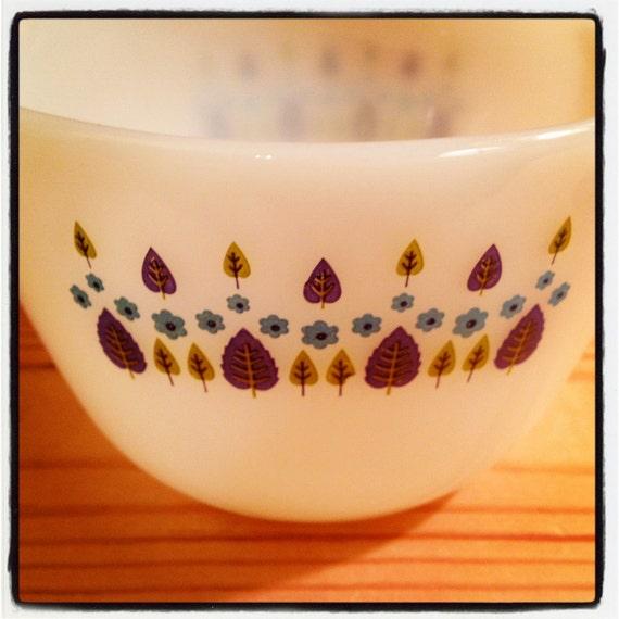 Vintage Milk Glass Mixing Bowl with Unique Blue Pattern