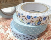 Fabric deco tape -A set of 3 quality Japanese washi fabric deco tape for Scrapbooking