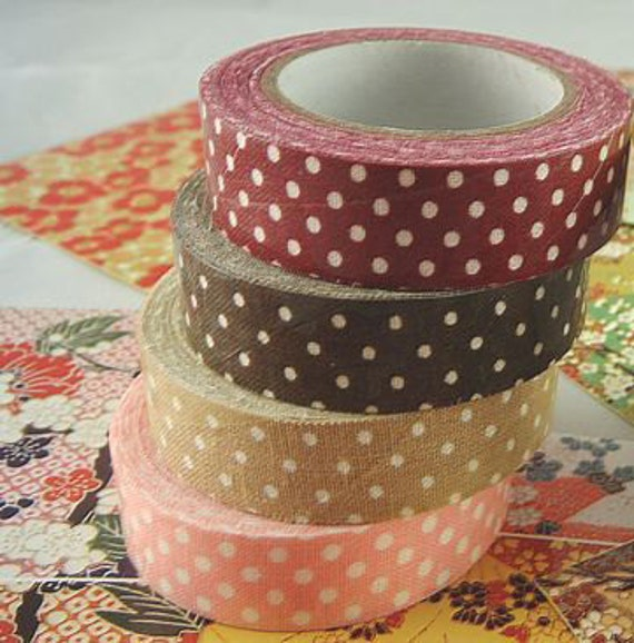 A set of 3 quality Japanese dotted fabric deco tape for Scrapbooking