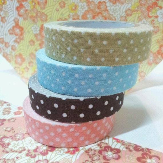 Polka Fabric Tape -  quality Japanese dotted fabric deco tape for Scrapbooking