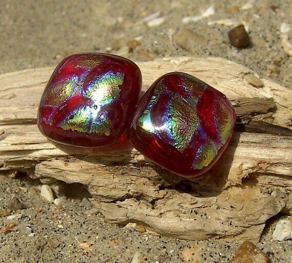 Stud Earrings Fused Glass Dichroic - Sevi