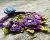 Crochet cotton flower purple bracelet