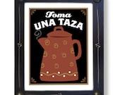 Coffee Pot Art Framed Mexican Art Print for Kitchen