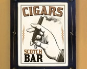 Cigar and Scotch Bar Gift for Men Black and White Framed Wall Art