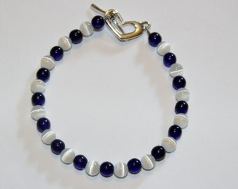 Navy and White Cat's Eye Bracelet with Heart Clasp